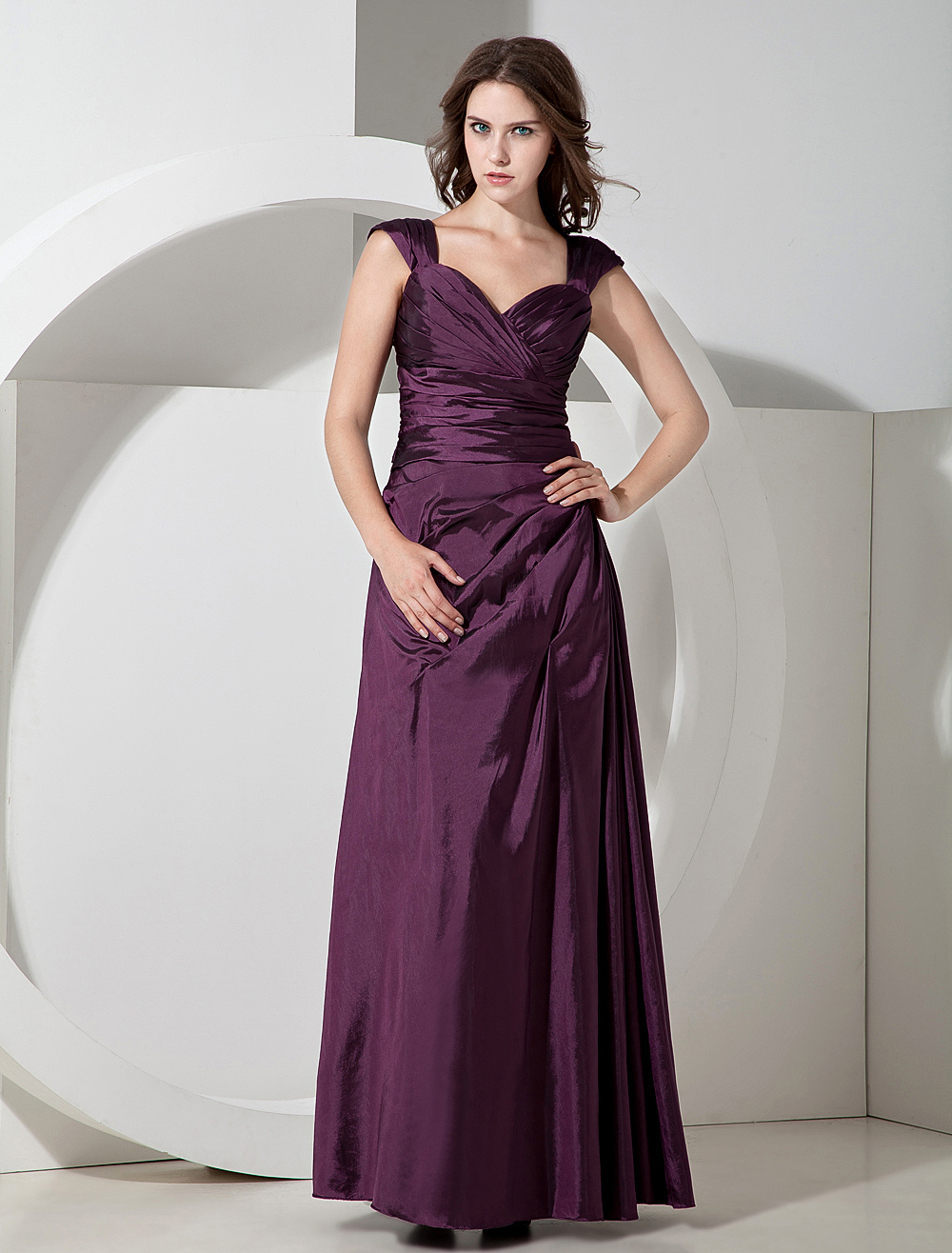 Grape Taffeta Floor Length Sweetheart Bridesmaid Dress