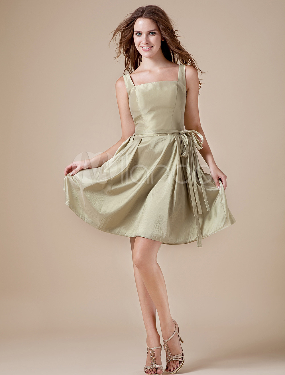 Sage Taffeta A-line Knee Length Bridesmaid Dress