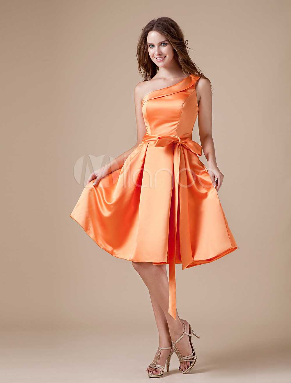 Vintage Orange Satin One Shoulder Knee Length Bridesmaid Dress