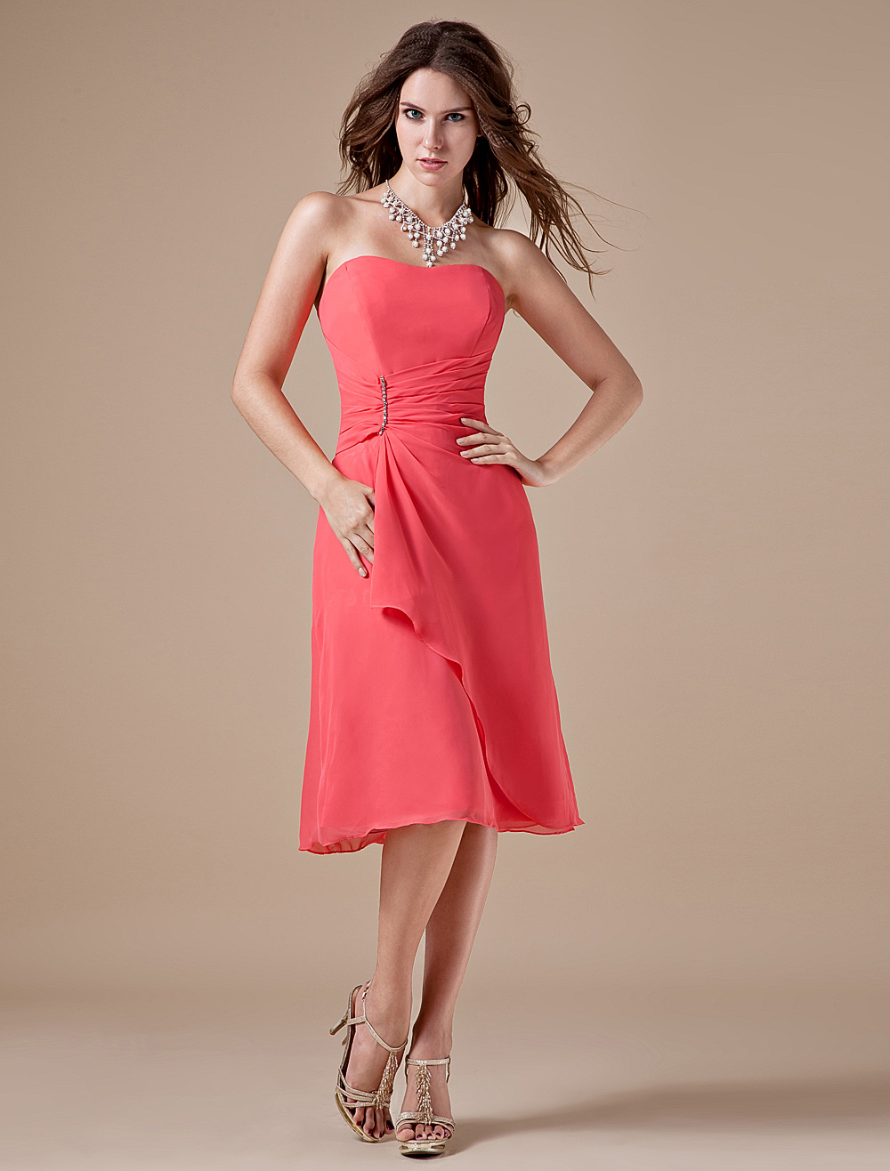 Sweet Chiffon Tea Length Strapless Bridesmaid Dress