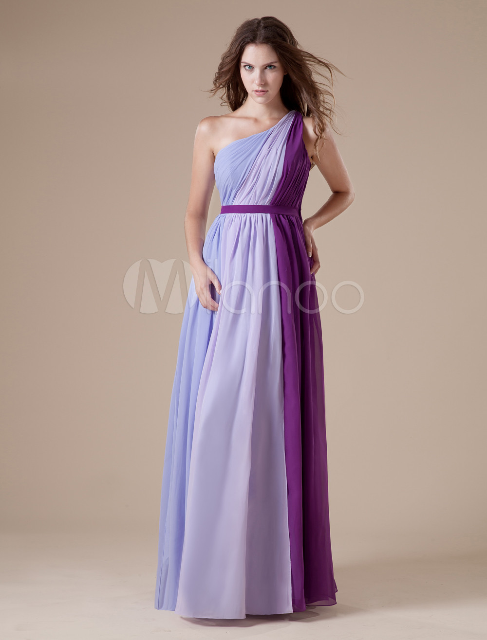 Lilac One-shoulder Chiffon Floor Length Womens Bridesmaid Dress