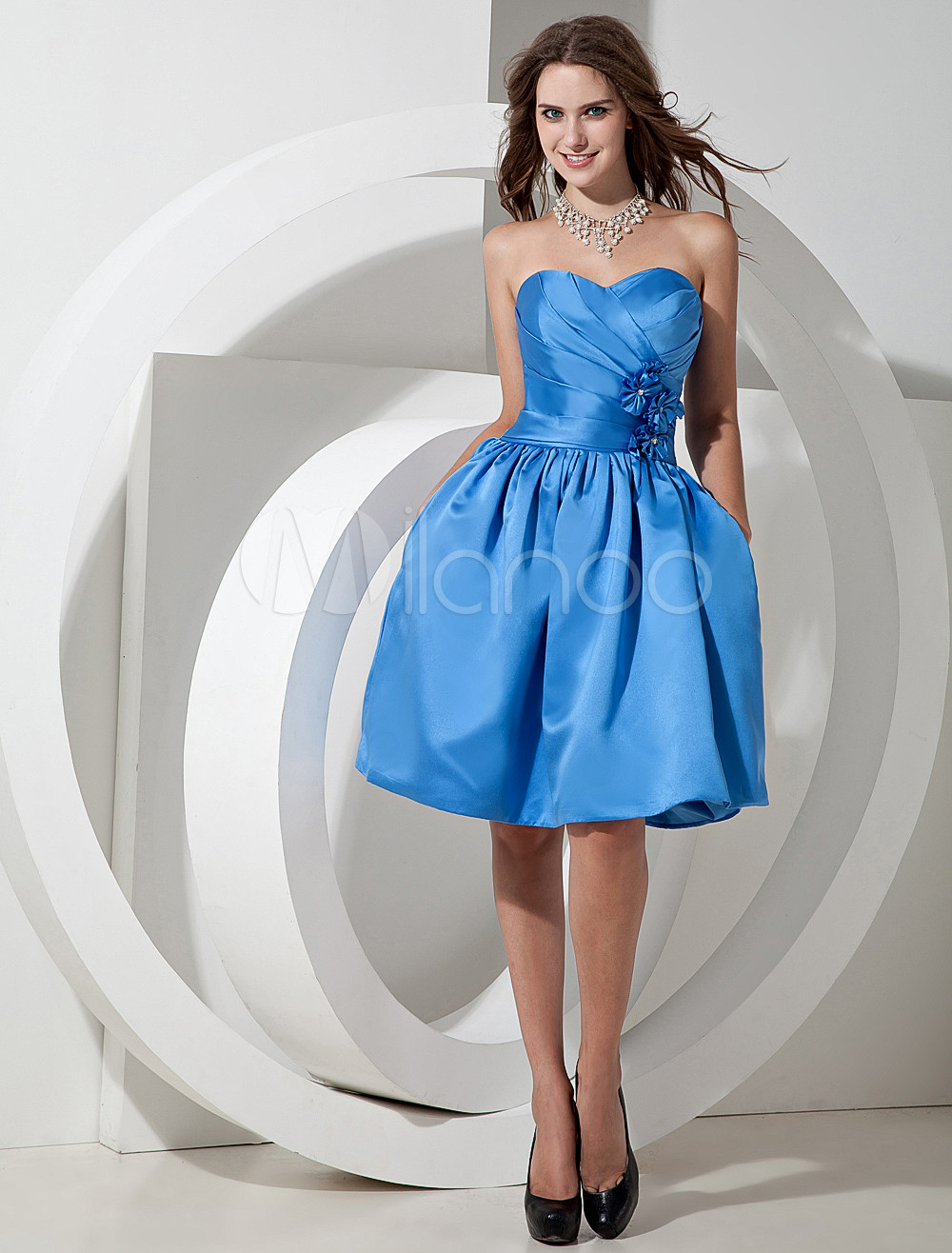 Pretty Blue Satin Knee Length A-line Bridesmaid Dress
