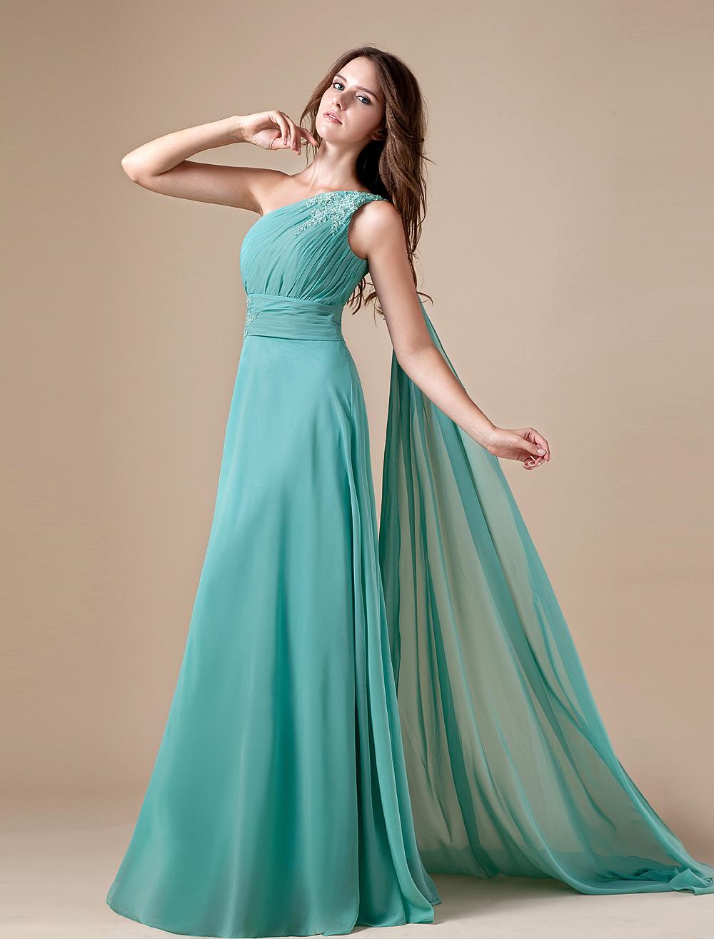 Turquoise Chiffon One Shoulder Prom Dress (Wedding Prom Dresses) photo
