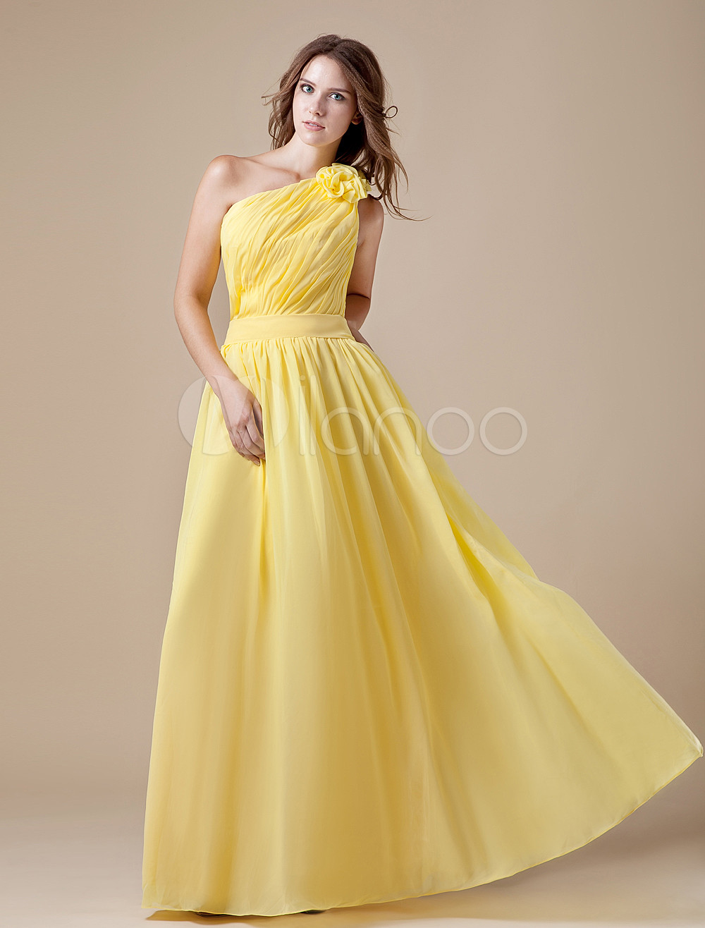Daffodil Cascading Ruffles One-Shoulder Chiffon Matte Satin Bridesmaid Dress