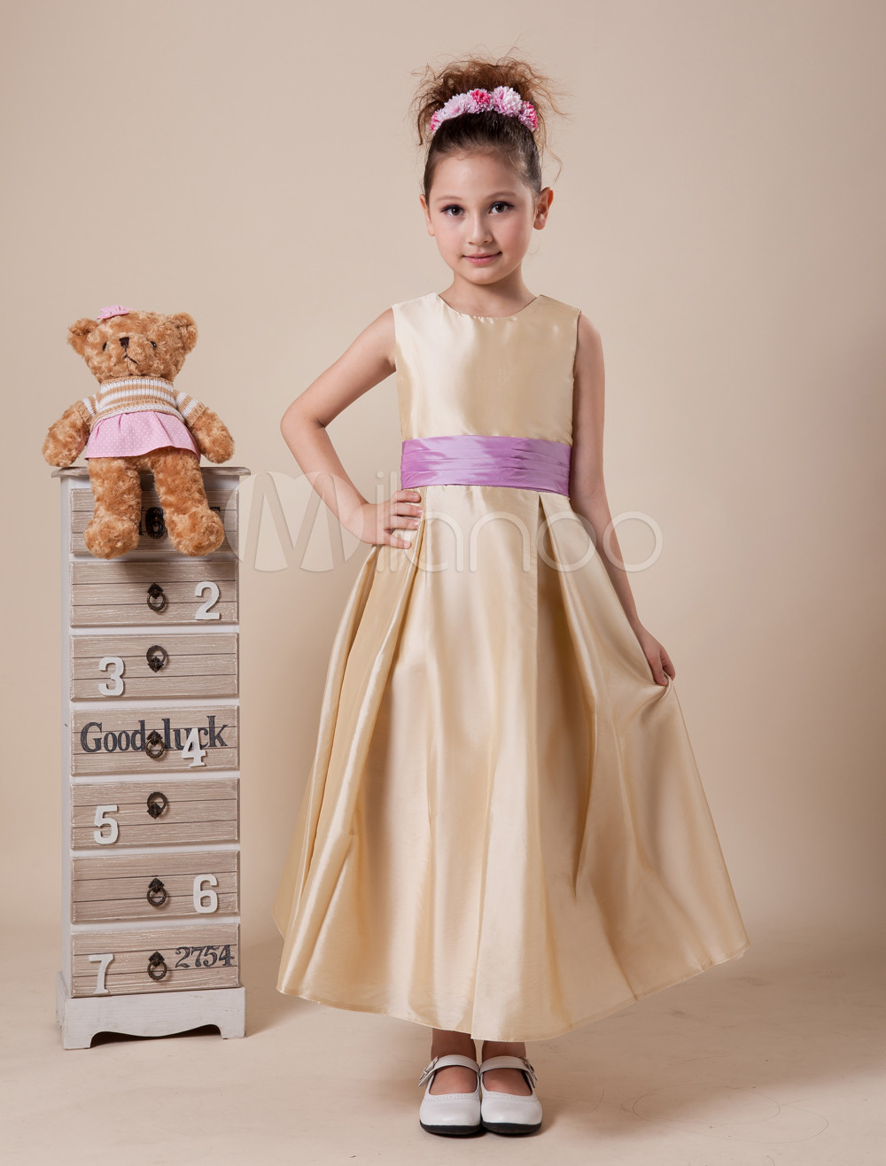 Quality Sleeveless Sash Satin Flower Girl Dress