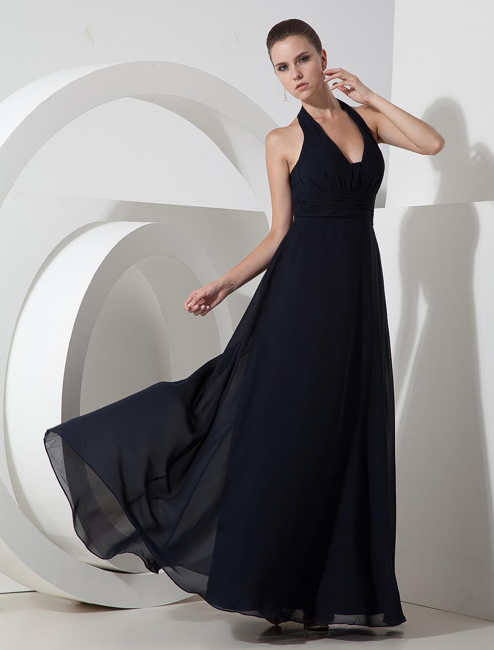 Elegant Dark Navy Blue Chiffon Halter Floor Length Evening Dress (Wedding Cheap Party Dress) photo