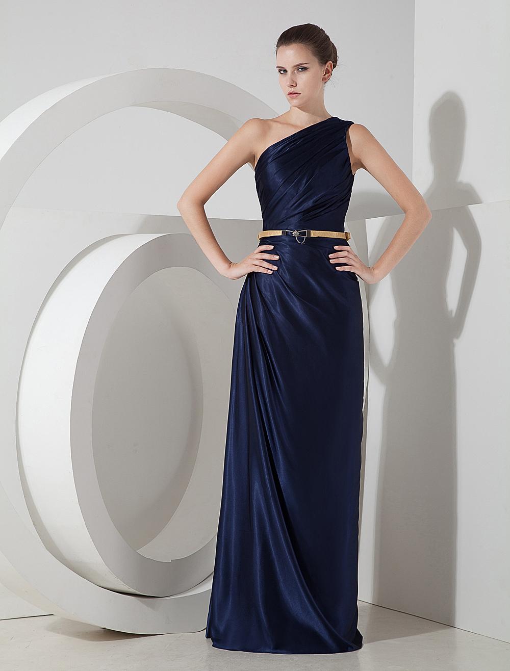 Deep Blue One-Shoulder Elastic Silk Like Satin Evening Dress (Wedding Evening Dresses) photo