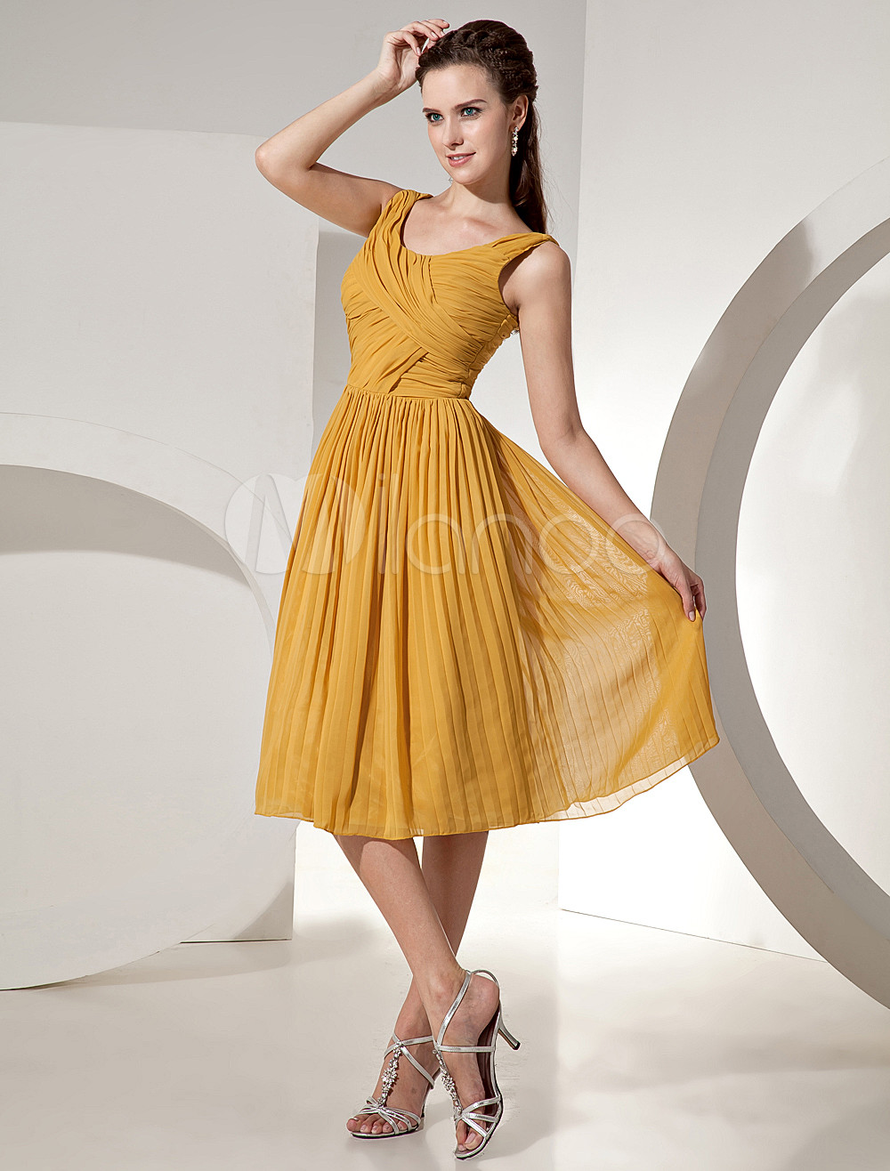 Yellow Oleated A-line Chiffon Bridesmaid Dress