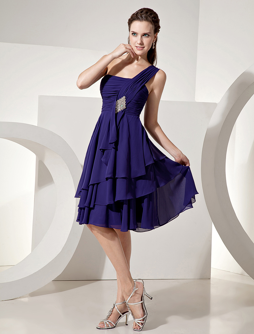 Chiffon Bridesmaid Dress Royal Purple Knee Length One Shoulder Tiered Prom Dress