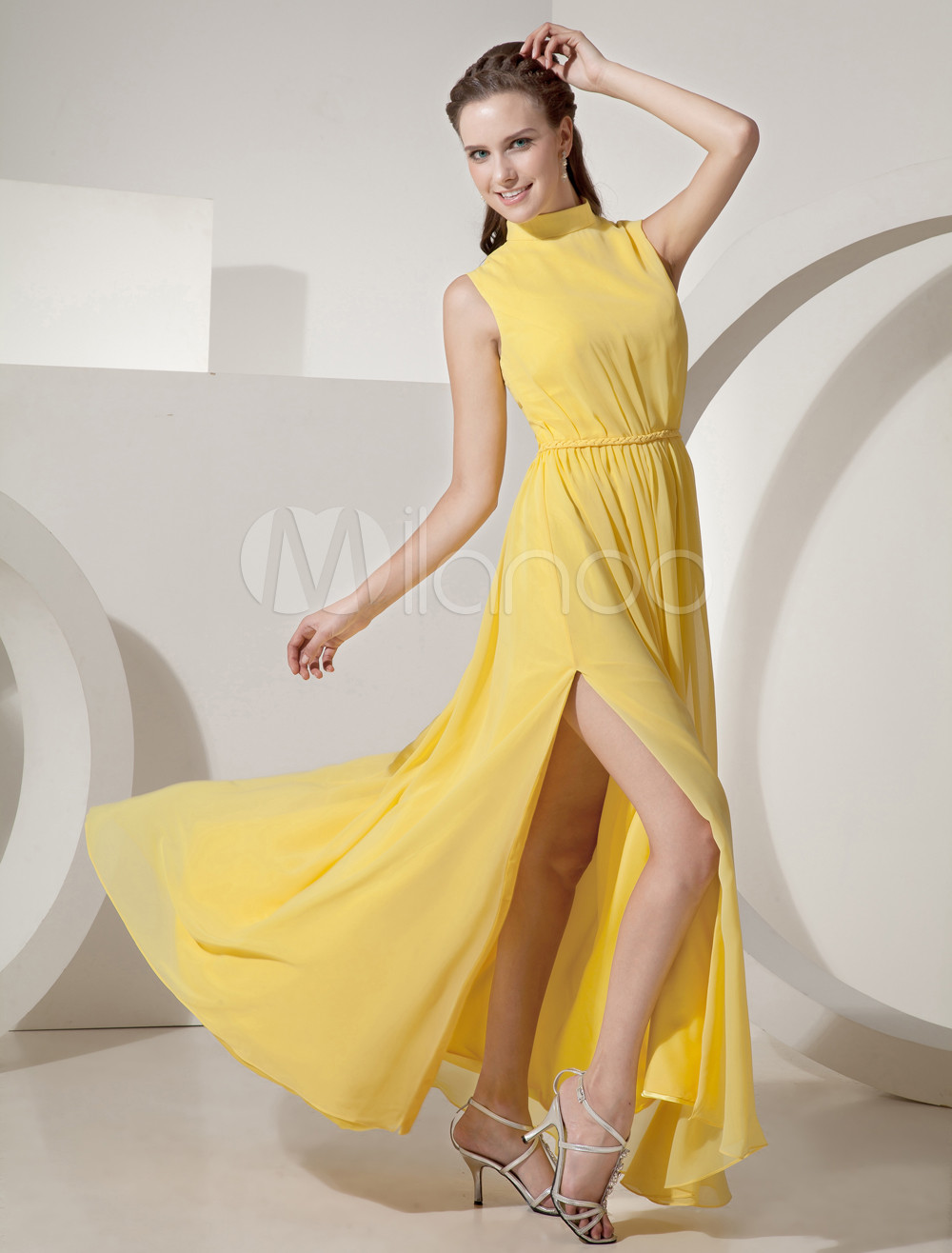 Elegant Yellow High Neck Chiffon Evening Dress