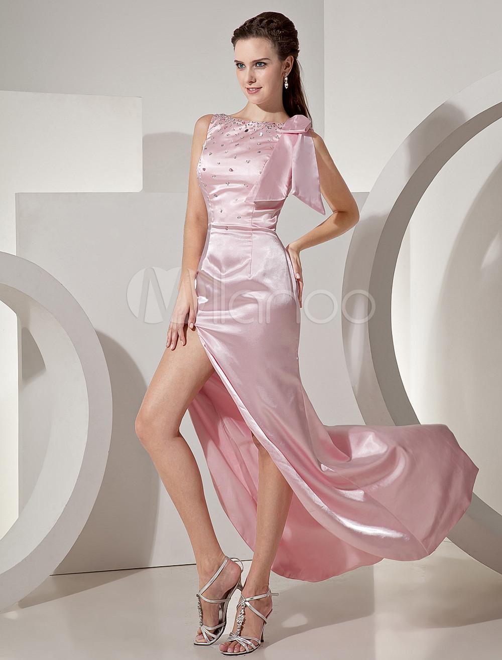 Sexy Pink Elastic Woven Satin Beading Side Split Women's Prom Dress (Wedding Prom Dresses) photo
