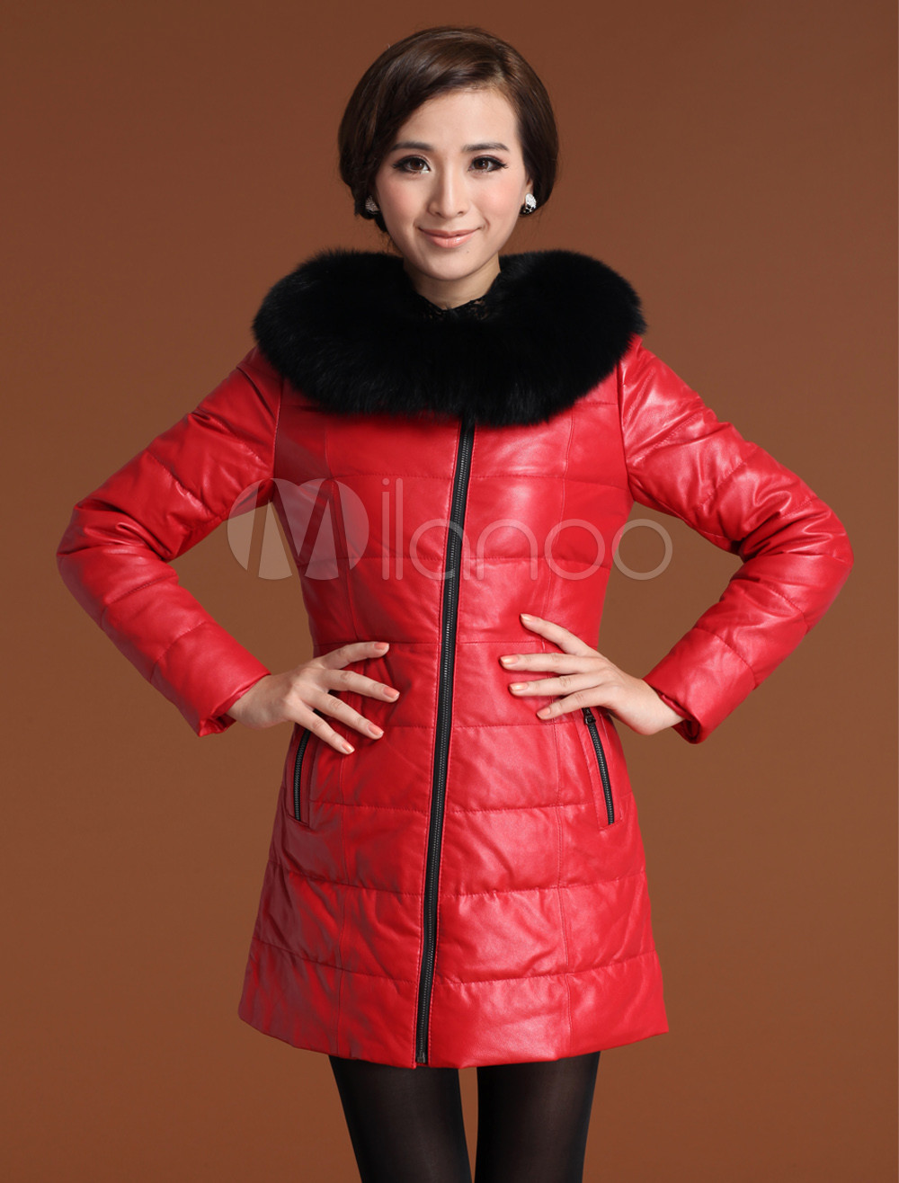 Shaping Red Sheepskin Duck Down Fox Fur Collar Women's Fur Coat