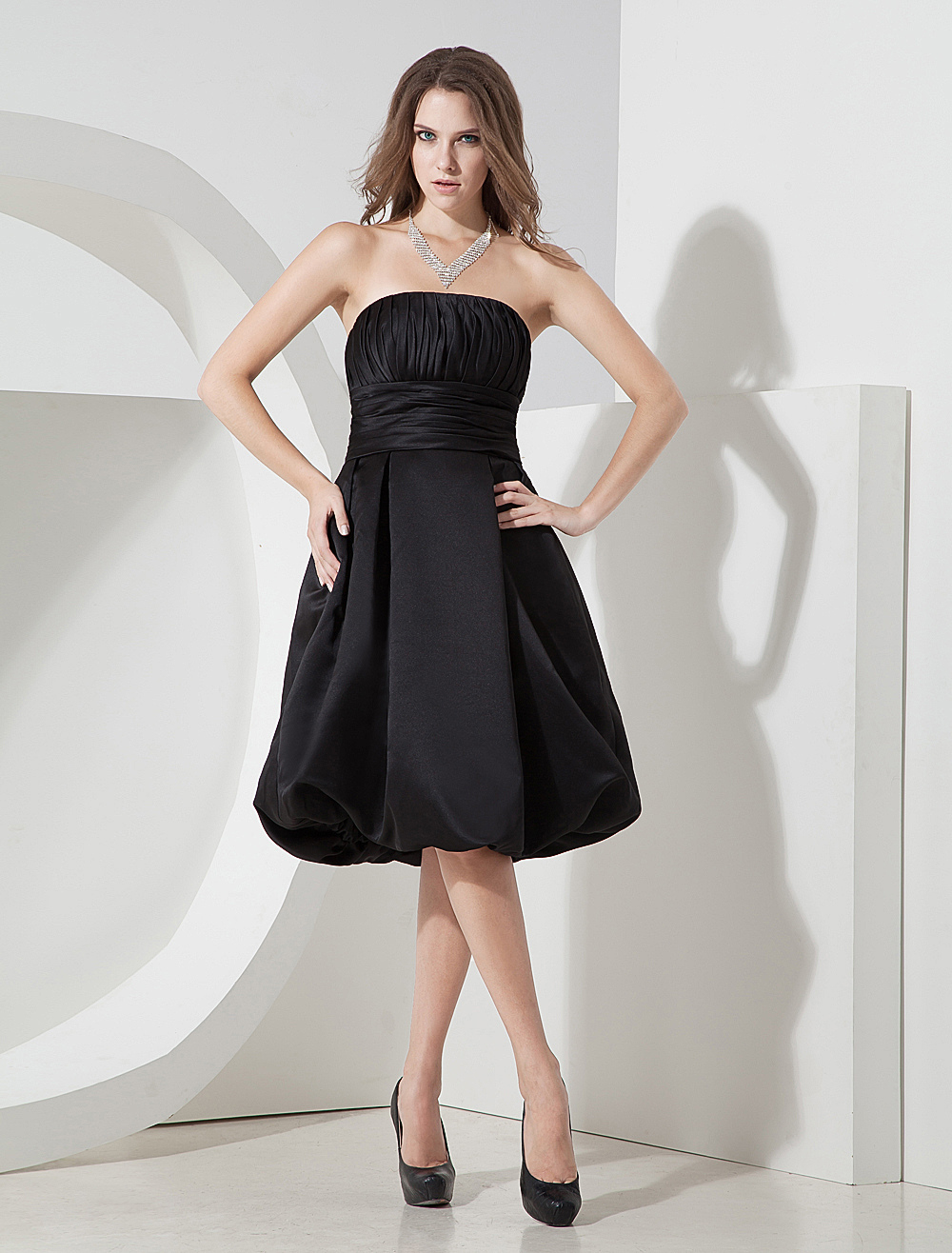 Fabulous Strapless Pleated Wrapped Satin Prom Homecoming Dress