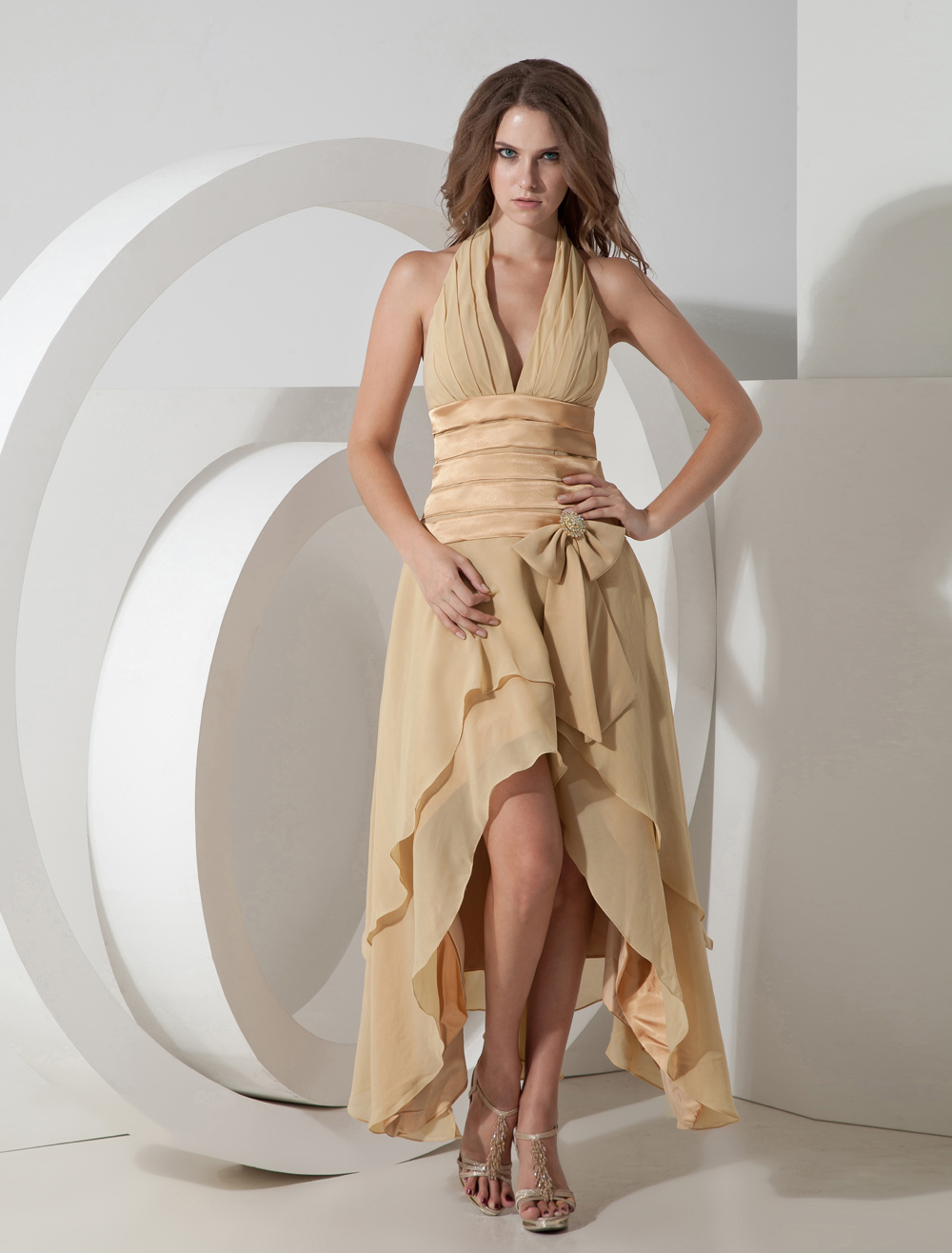 Gold Deep V-Neck Elastic Woven Satin Chiffon Long in Back Short in Front Prom Dress/Homecoming Dress