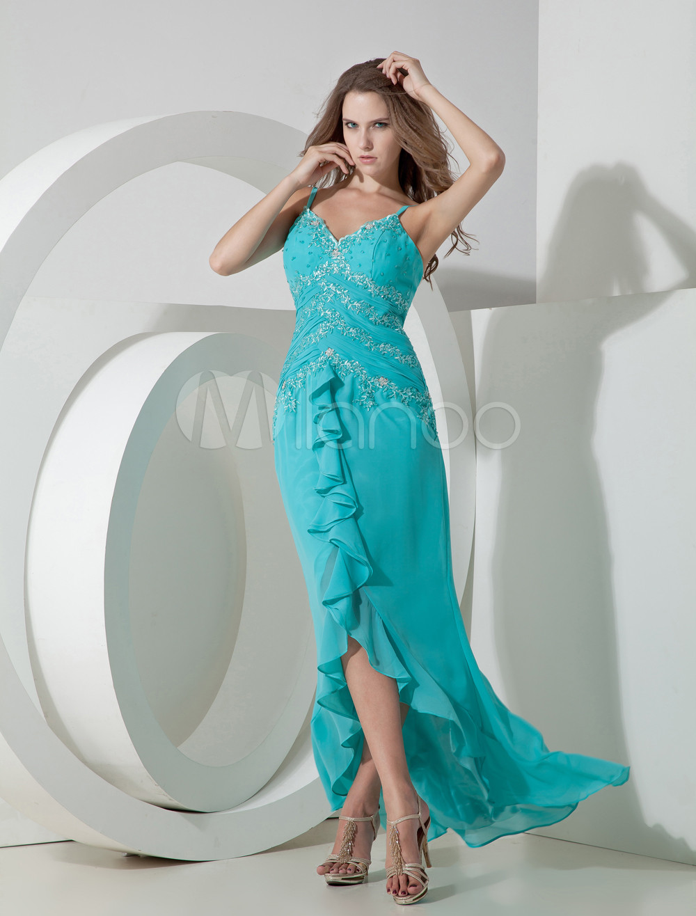 Chiffon Prom Dress Turquoise Sheath V Neck Beading Ruffle Maxi Party Dress