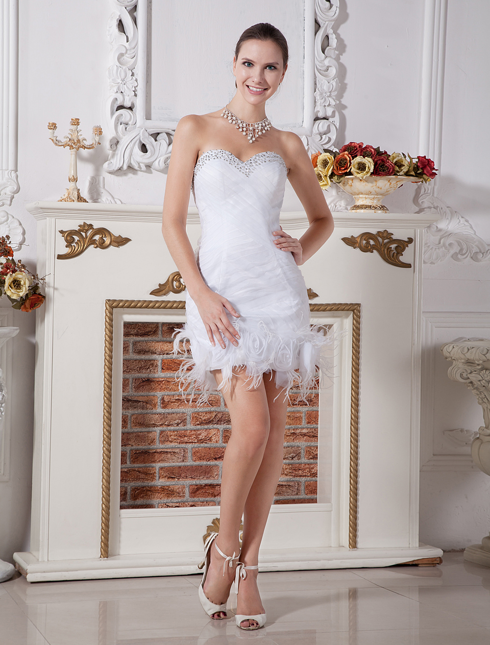Chic White Feather Sweetheart Neck Sheath Net Wedding Dress For Bride