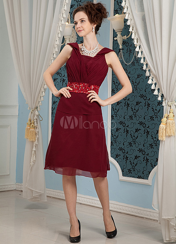 Red Applique V-Neck Satin Chiffon Bridesmaid Dress