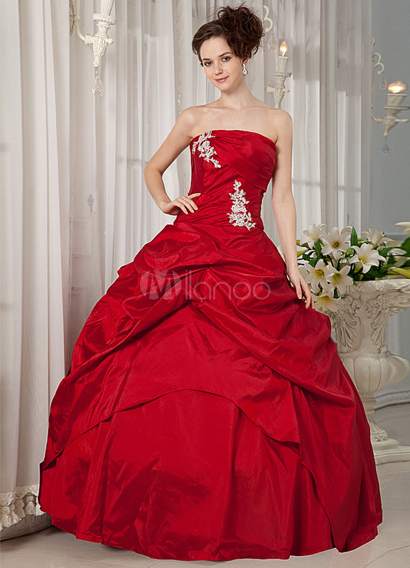 Red Strapless Taffeta Woman's Ball Gowns
