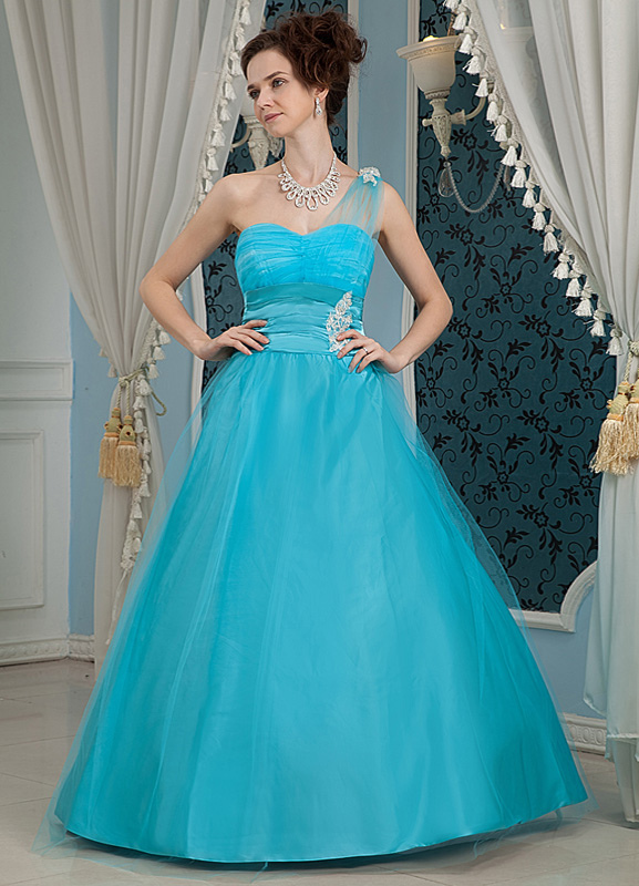 Blue Sweetheart One-Shoulder Net Satin Woman's Ball Gowns