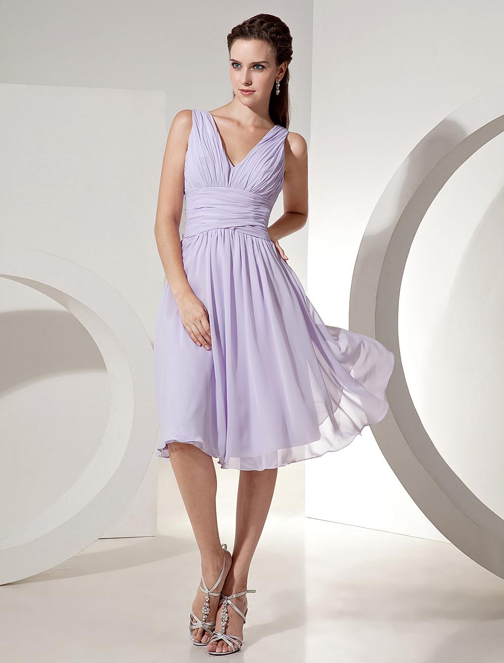 Lilac Bridesmaid Dress V Neck Ruched Chiffon A Line Knee Length Short Prom Dress (Wedding Bridesmaid Dresses) photo