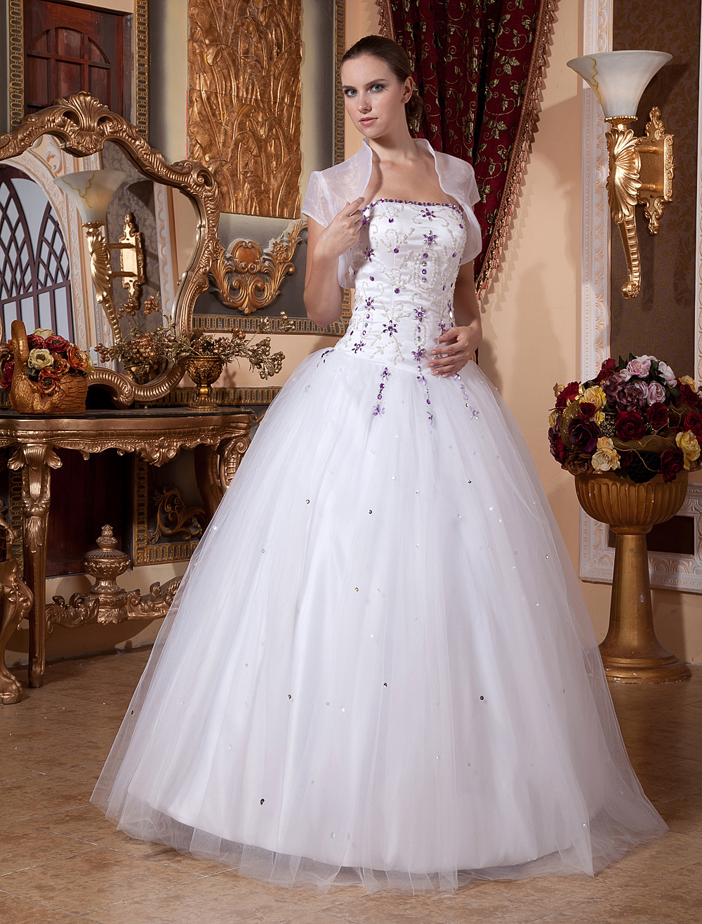 White Ball Gown Strapless Beading Embroidery Satin Organza Prom Quinceanera Dress