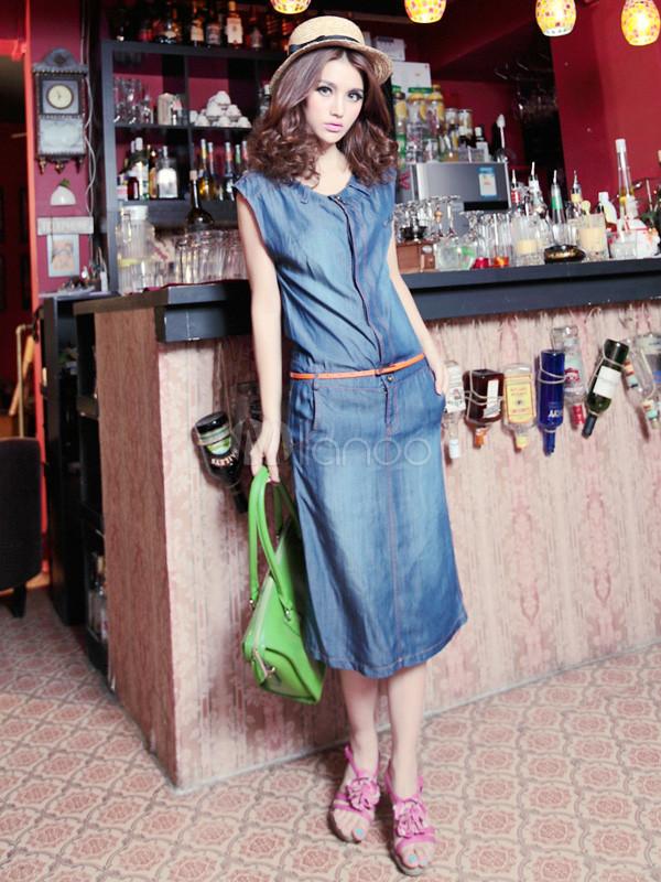 Blue Jewel Neck Sash Denim Woman's Dress
