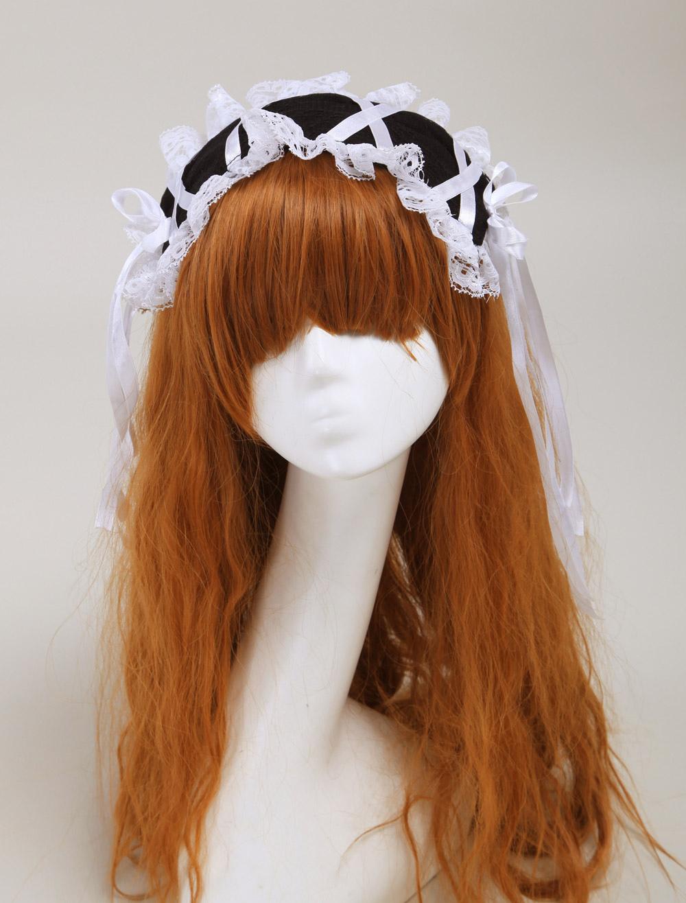 Black Corduroy Womans Lolita Hair Tie