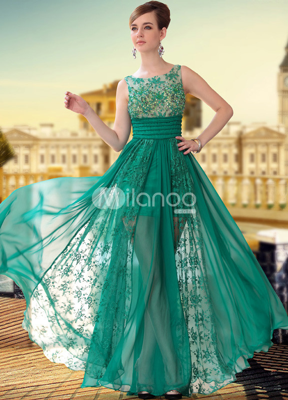 Green Semi-Sheer Lace Beading Satin Woman's Prom Dress