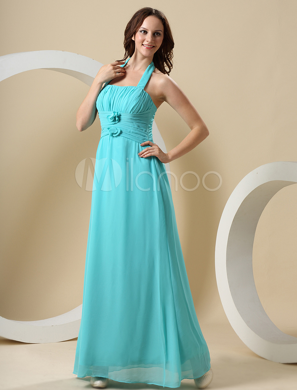 Fresh Hunter Green Chiffon Floor Length Bridesmaid Dress
