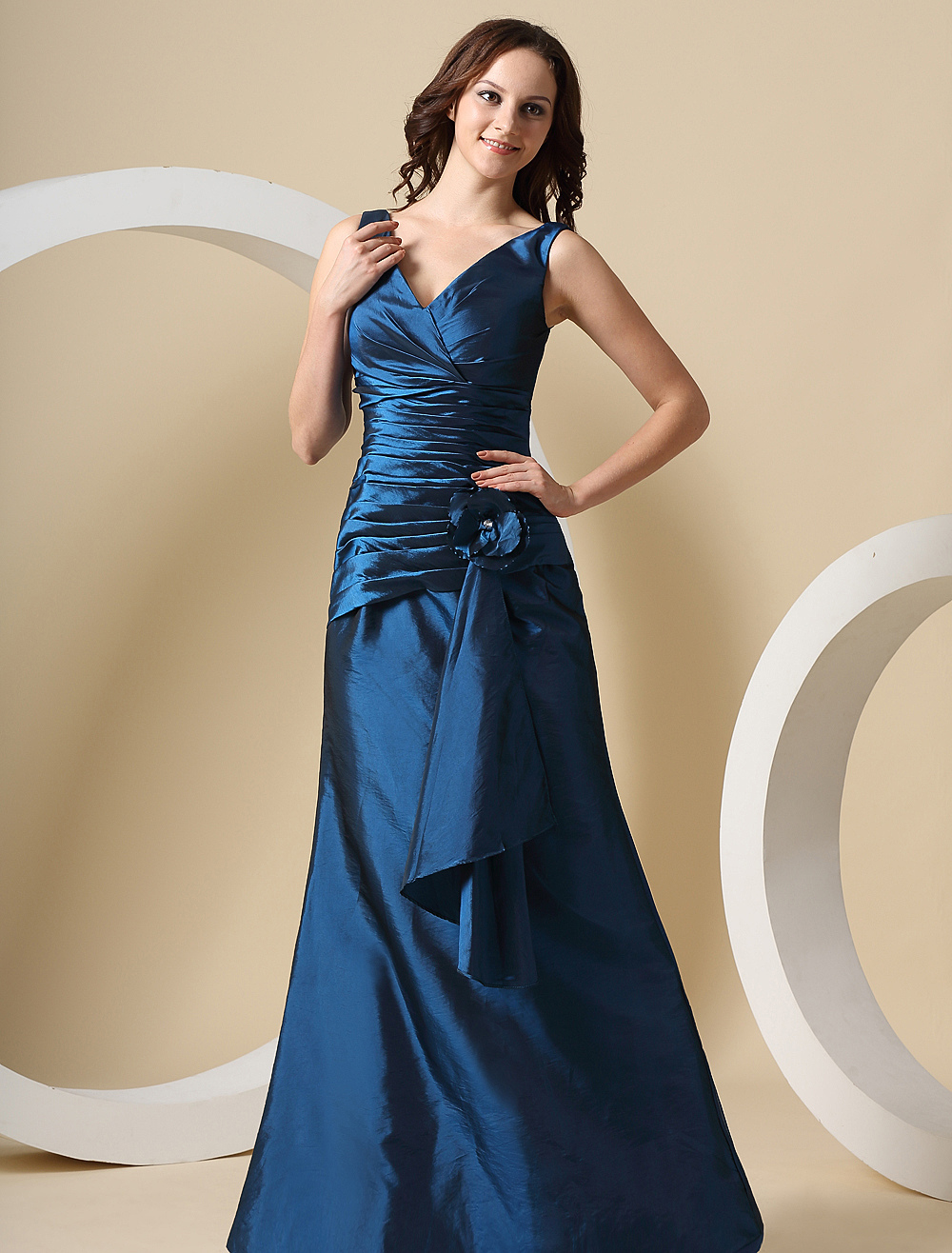 Mermaid Bridesmaid Dress Ink Blue V Neckline Ruched Flowers Taffeta Maxi Party Dress