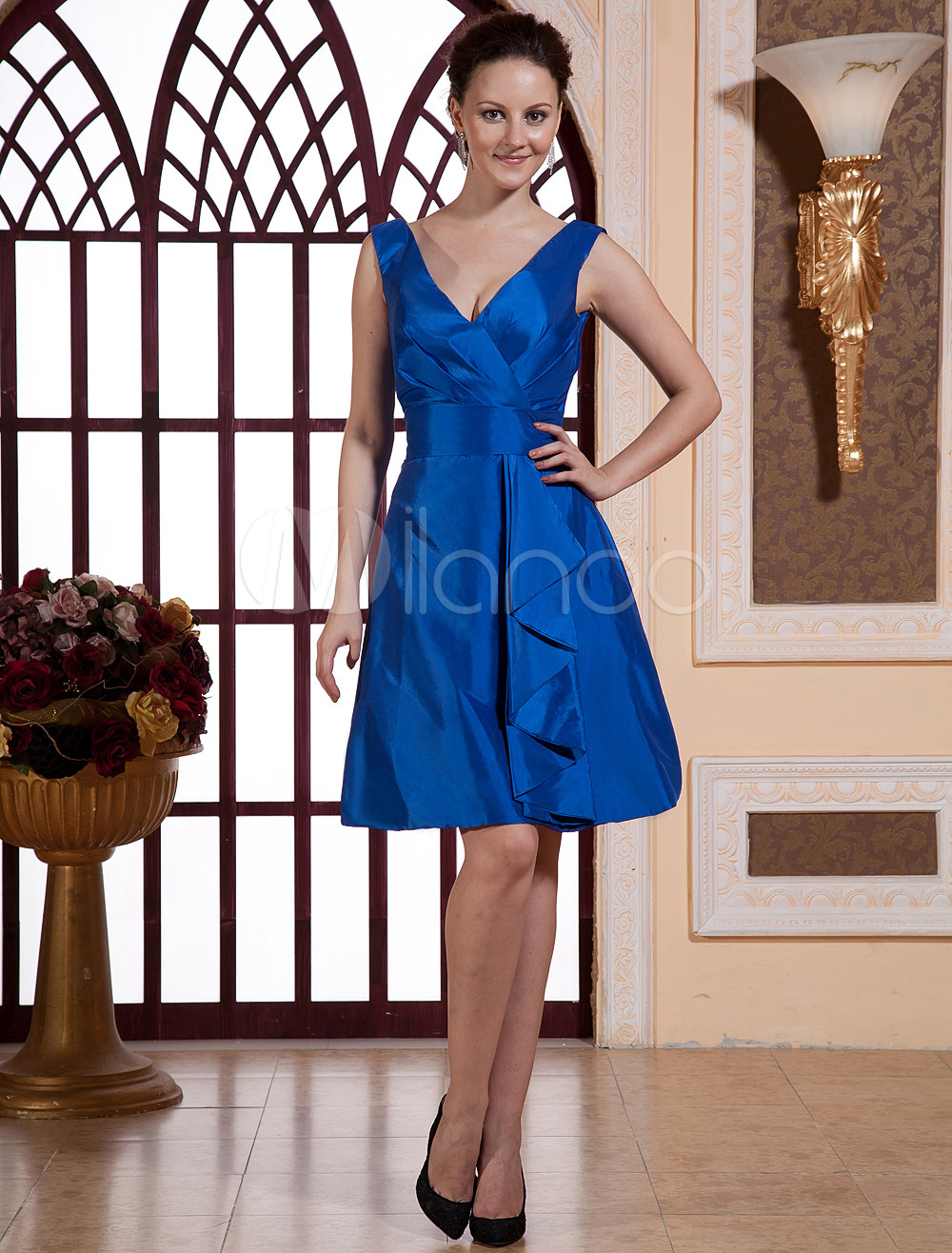 V-Neck Ruched Taffeta Blue Grace Bridesmaid Dress