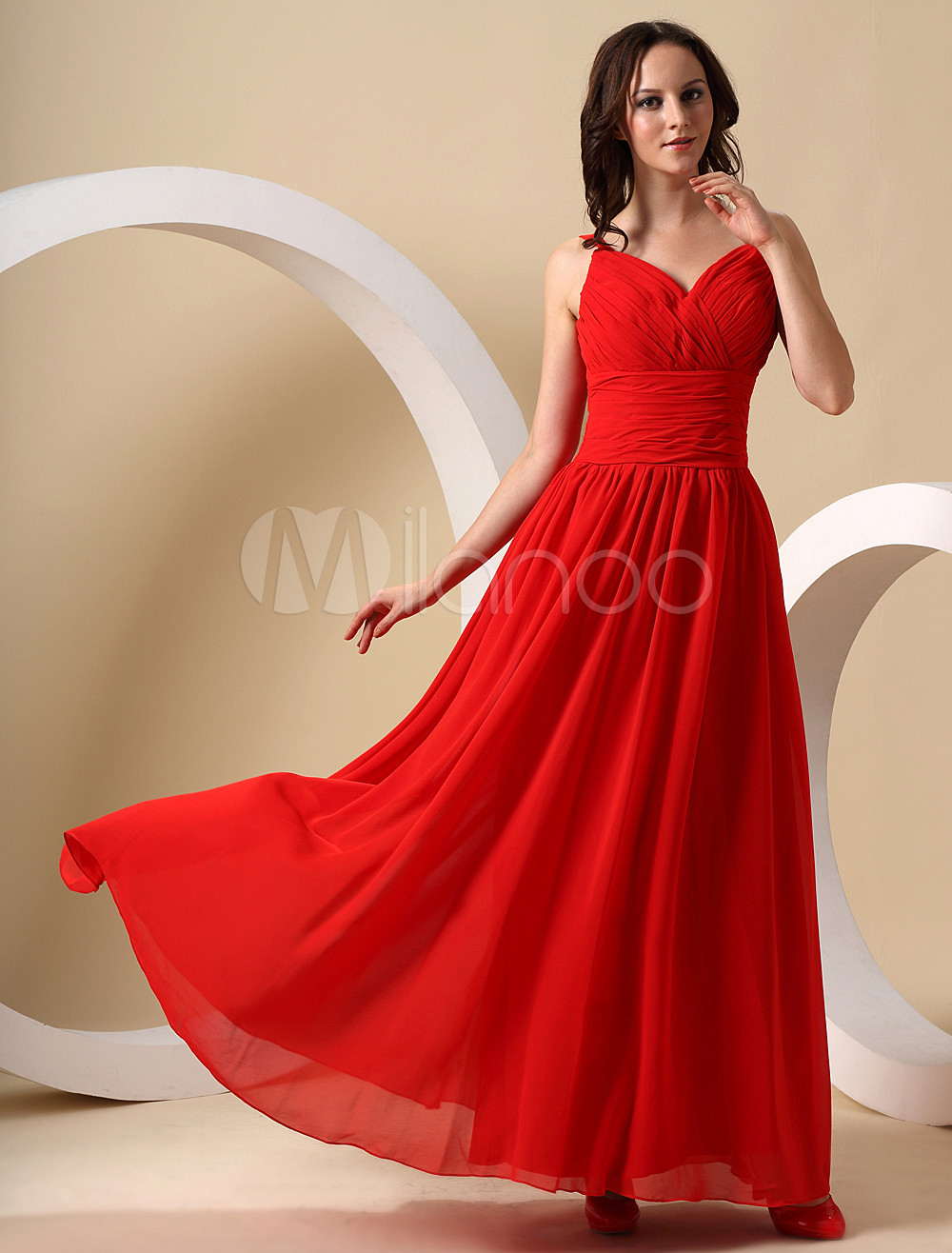 Pretty Red Chiffon Sweetheart Floor Length Bridesmaid Dress