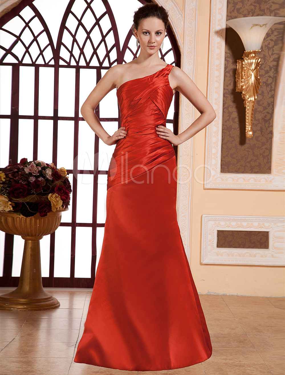 Elegant Red Satin One Shoulder Floor Length Bridesmaid Dress