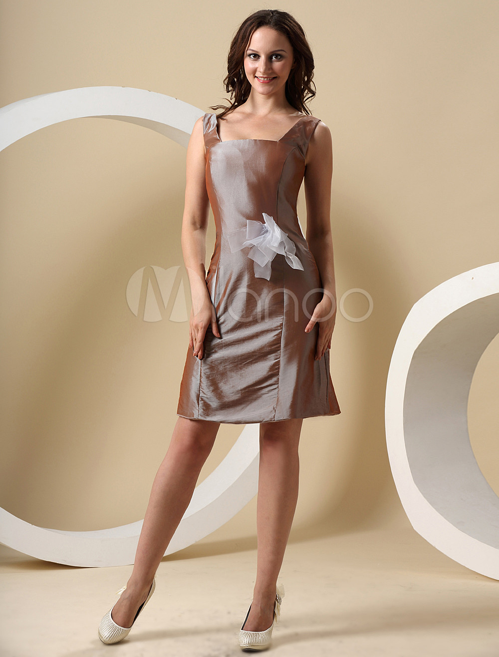 Sheath Square Neck Sash Sage Taffeta Bridesmaid Dress