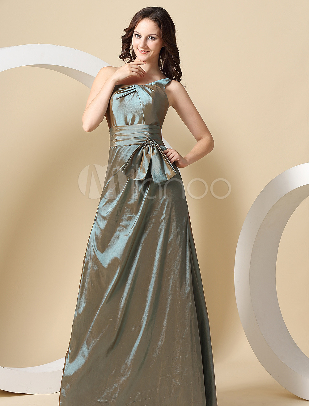 Vintage Taffeta One Shoulder Floor Length Bridesmaid Dress