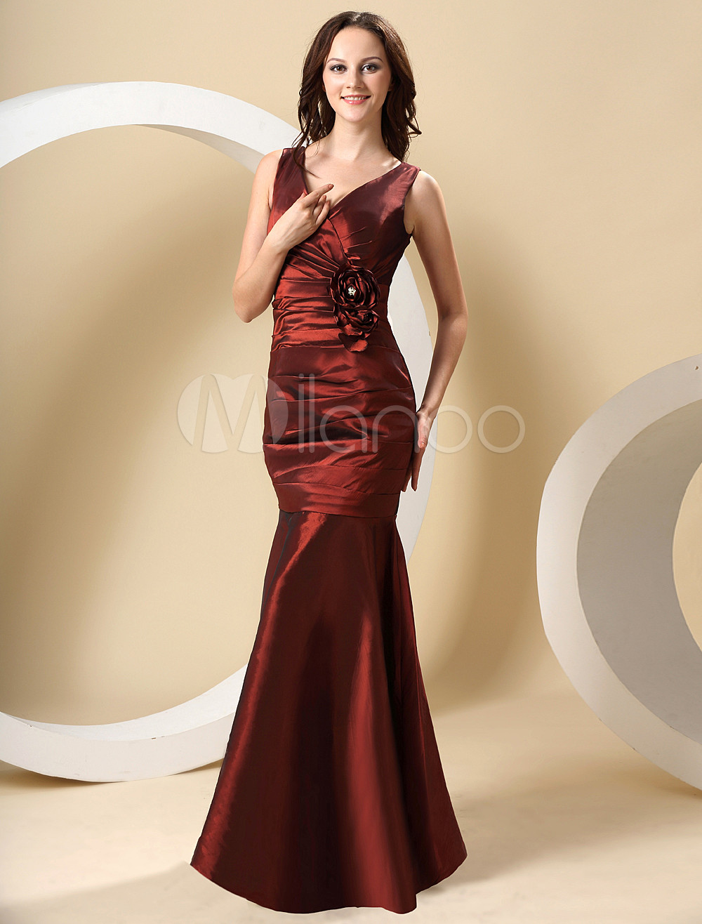 V-Neck Pleated Taffeta Burgundy Pretty Bridesmaid Dress