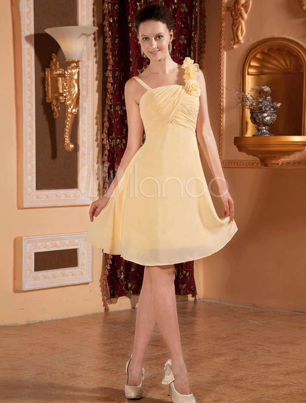 Yellow Chiffon One-shoulder Knee Length Womens Bridesmaid Dress