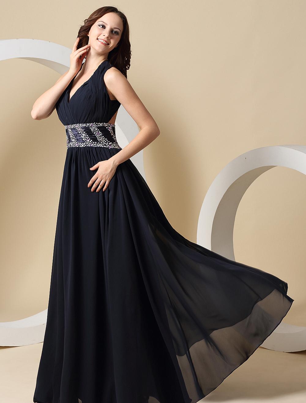 Elegant Deep Navy Blue Chiffon Halter A-line Prom Dress (Wedding Prom Dresses) photo