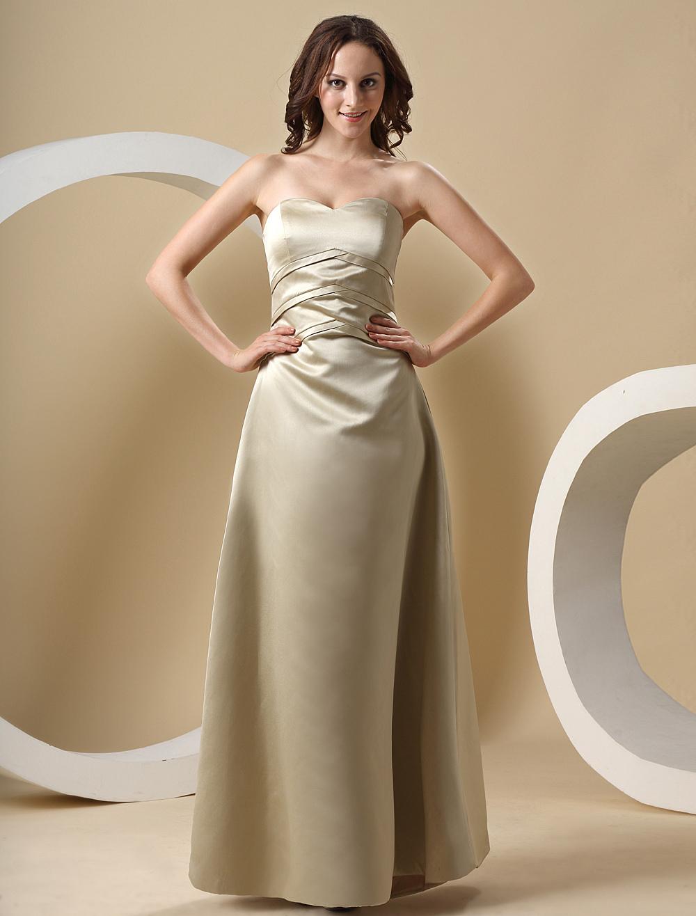 Sweetheart Strapless Satin Floor Length Bridesmaid Dress