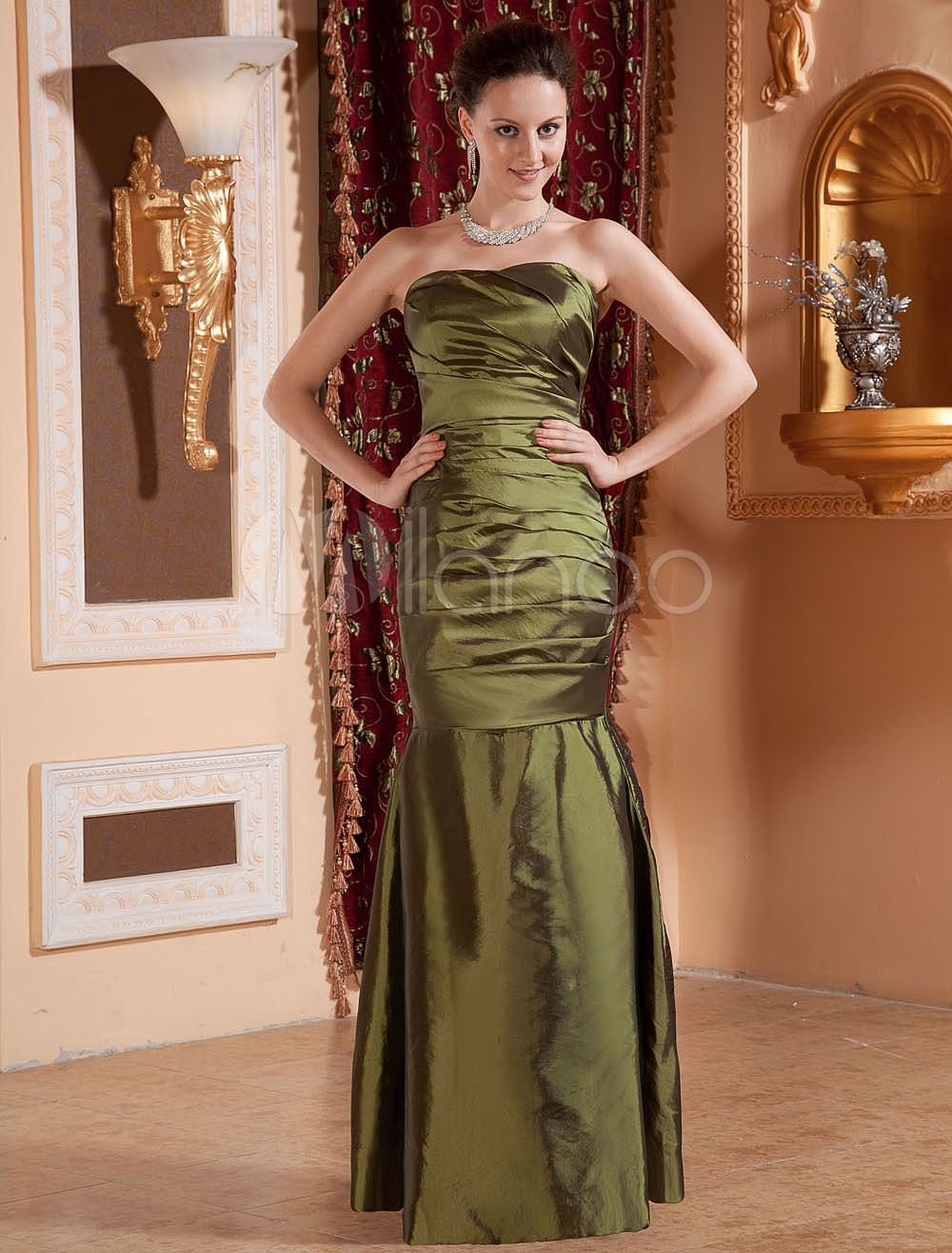 Strapless Cascading Ruffle Taffeta Gorgeous Bridesmaid Dress