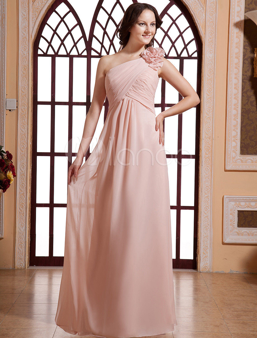 Romantic Pink Chiffon One Shoulder Floor Length Bridesmaid Dress