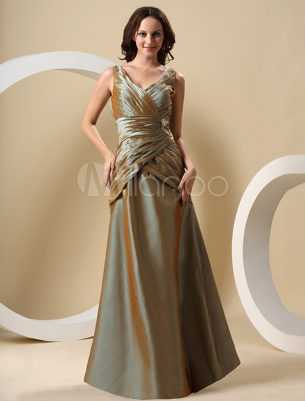 Luxurious Caesious Taffeta Floor Length Bridesmaid Dress