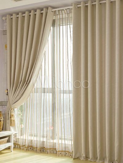 Cortinas de poli ster de color beige con estampado floral - Cortinas lino beige ...