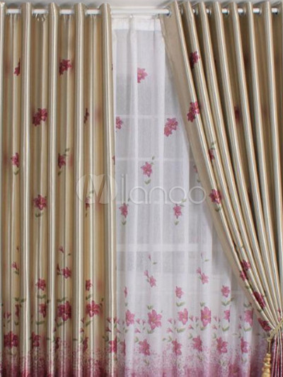 Cortina blackout poliester floral oro vintage for Cortinas vintage