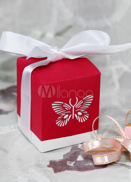 Red Laser Cut Butterfly Set of 12 Favor Holders