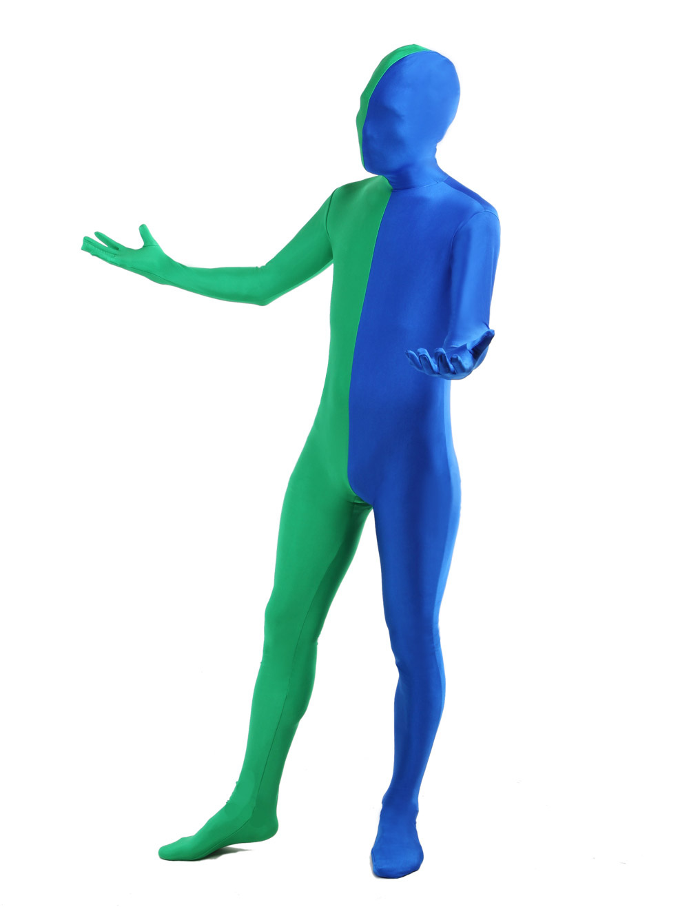 Green Blue Lycra Spandex Full Body Zentai Suit