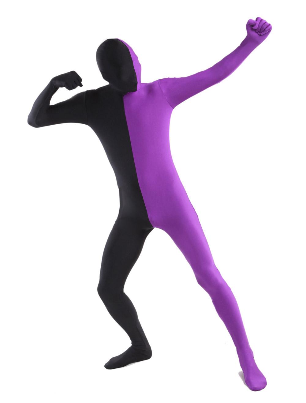 Black Purple Lycra Spandex Full Body Zentai Suit