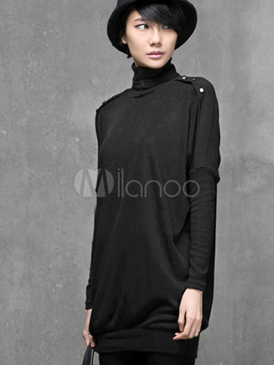 Black High Collar Acrylic Woman's Bat-Wing Pullover Sweater