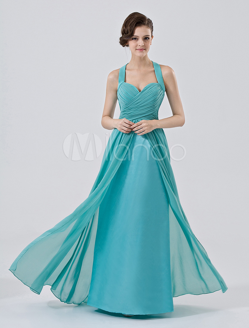 Turquoise Bridesmaid Dress Floor Length Halter Chiffon Satin Prom Dress