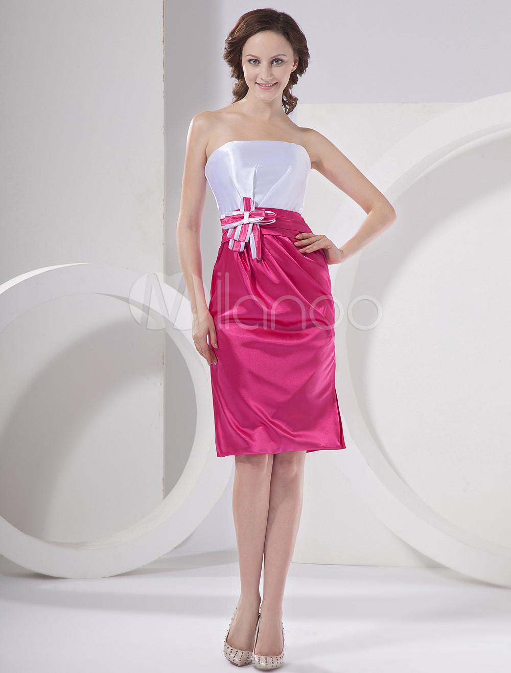 Fuchsia Strapless Applique Knee Length Satin Bridesmaid Dress